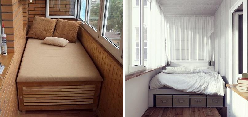 Как обустроить спальную зону на балконе.